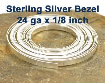 "24ga x 1/8"" Sterling Silver Bezel Wire - 24ga x 1/8 Inch - Choose Your Length"