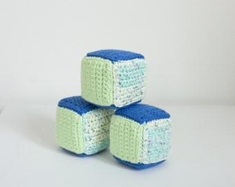 Soft Blocks Set of 3 — Crochet Handmade Baby Gift — Nursery Decor — Toddler Toy