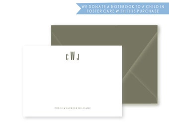Boxed Set of Modern Personalized Stationery, Set of 10 Notes, Monogram