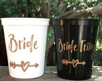 Bachelorette | Bachelorette Party Favor | Bride Cup | Bride Tribe Cups, Reusable Cups, Bachelorette Cups, 16 OZ Stadium Cup, Bride Tribe
