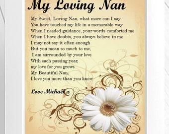 Personalised Grandmother Poem Framed Print