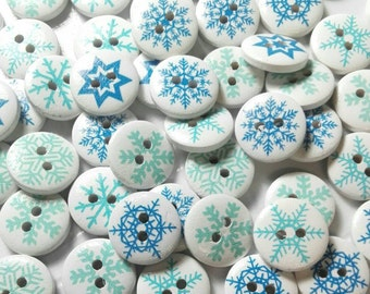 20 Wooden buttons round pattern Snowflakes - Star in colors Mixed 15mm
