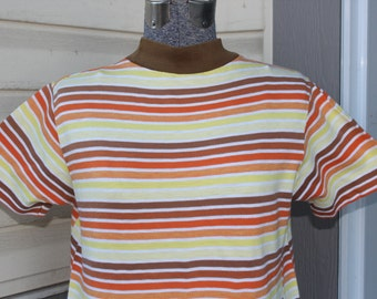 1950s 60s Size Small- Medium Striped Short Sleeved White Yellow Orange Brown Cotton Shirt Top