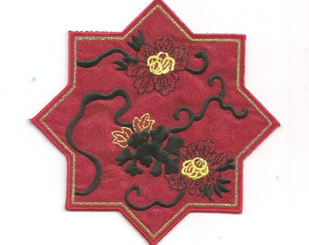 Red Burgundy Oriental Flower Satin Embroidered Iron on Patch Applique 6230
