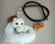 Falkor. Luck dragon necklace.Neverending story.White pearl dragon.Auryn.Pearls.The Childlike Empress.Atreyu.OOAK.Fantasy.Unique.Handmade.
