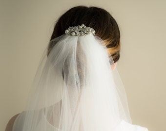 Extra Wide Wedding Veil with Crystal and Pearl Barrette (Cathedral, Chapel, Finger Tip, Elbow, High Volume, Illusion Tulle Bridal Veil)
