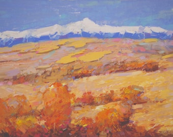 Landscape Colorado's Colors Oil Painting Traditional art One of a Kind Impressionism Signed with Certificate of Authenticity Large Size