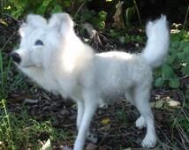 Needle felted Animal, Needle felted wolf, Needle felted white wolf, OOAK white wolf
