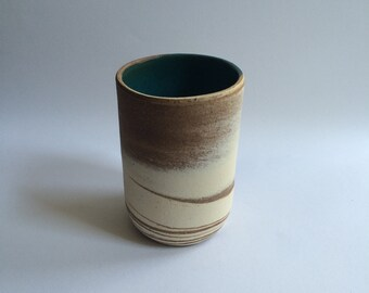 Handmade Tumbler Marbled Pottery Green Glass Stoneware Pottery Tableware Host Gifts Swirled Cup Tall Cup Pottery Tumbler Green Tumbler