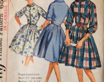 Vintage dress pattern Simplicity 5232 One piece shirtwaist dress pattern Size 10