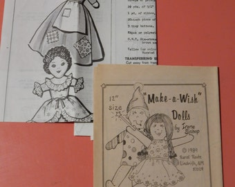 "Two vintage doll pattern leaflets - upside down doll and ""Make-a-Wish"" dolls Uncut"