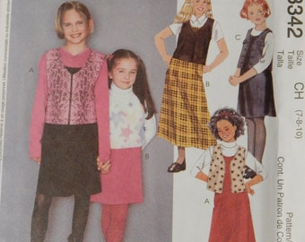 McCall's 3342 Girl's jumper and vest pattern Uncut Sizes 12, 14 and 16