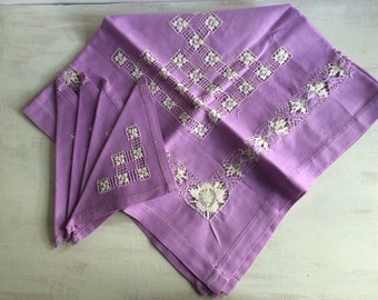 Vintage Lavender Color Cutwork Luncheon Cloth With 4 Matching Napkins