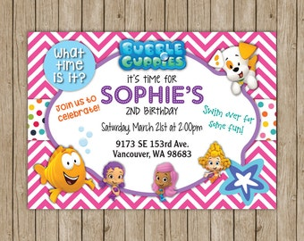 Bubble Guppies Birthday Invites- digital file 5x7
