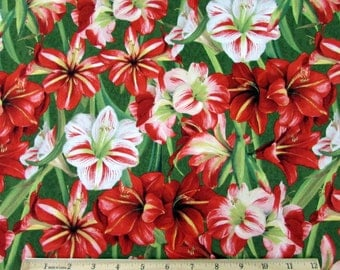 Making Spirits Bright Amaryllis Flowers Fabric From Wilmington By the Yard