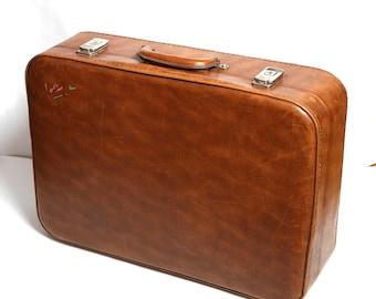 Vintage brown suitcase, vintage luggage, retro suitcase, travel suitcase, gift for him, Vintage suitcase, messenger bag, man tote travel bag