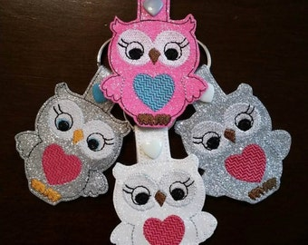 Owl - Heart - In The Hoop - Snap/Rivet Key Fob - DIGITAL Embroidery Design