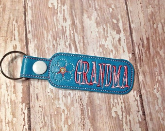 Grandma - Flower -  In The Hoop - Snap/Rivet Key Fob - DIGITAL EMBROIDERY DESIGN