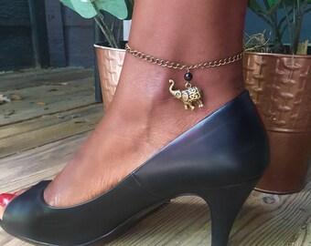 Elephant Charm Anklet//Brass Ankle Bracelet