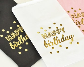 24 - Happy Birthday Treat Bags - Pink, Black or White