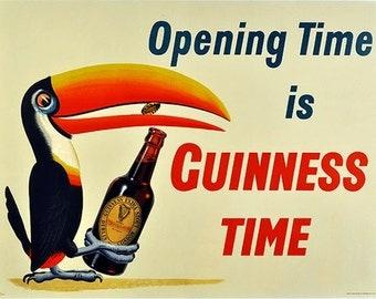 "8x10"" ultra premium poster print    Guiness beer ad, pelican man cave, bar, rec room"
