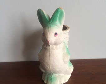 Vintage Rabbit Paper Mache Candy Container Easter Bunny