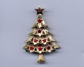 Vintage Meesco Enamel Christmas Tree Brooch