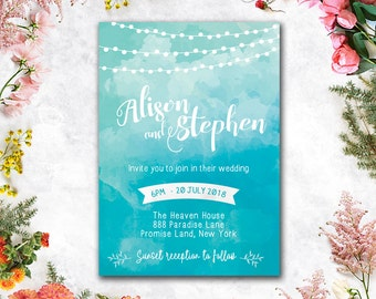 Digital - Printable Files - Blue Beach Watercolor Wedding Invitation and Reply Card Set - Wedding Stationery - IDLP28