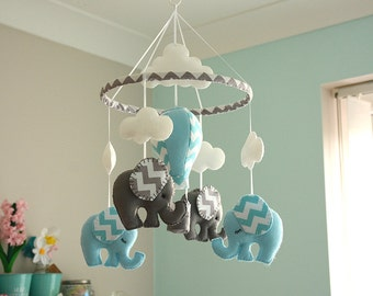 Baby Boy Mobile - Nursery Mobile -  Elephant mobile - Hot Air Balloon- Blue Grey Mobile  -  MADE TO ORDER