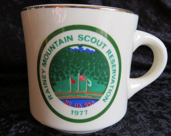 Boy Scouts of America Mug 1977 Rainey Mountain Scout Reservation NE GA BSA Collectible Camp Souvenir Coffee Tea Cup