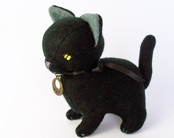 Black Cat Felt Doll, Handmade Halloween Kitty Soft Sculpture, Gothic Stuffed Witch Cat for Cat Lovers