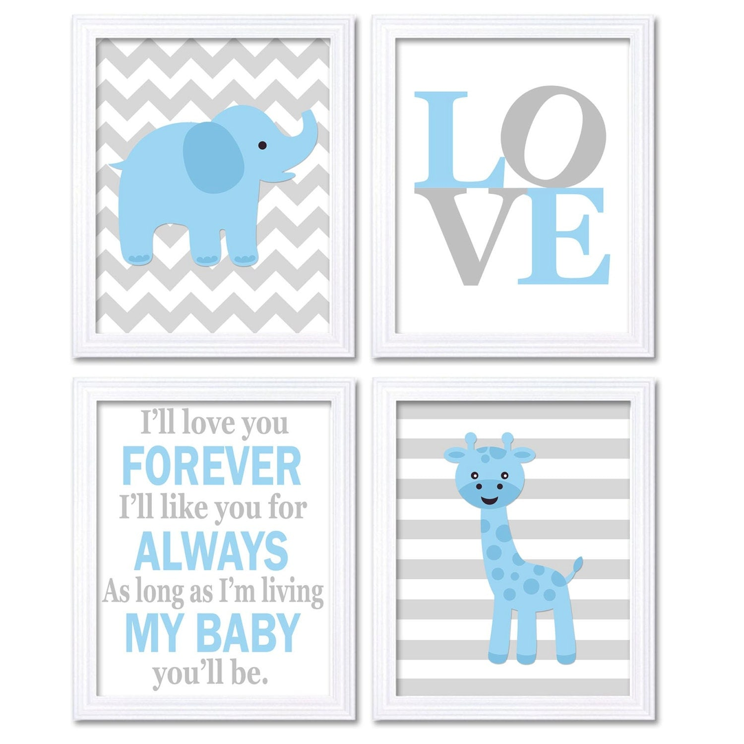 Elephant Nursery Art Giraffe Wall Decor Ill Love You Forever Set of 4 Prints Baby Blue Grey Child Ki