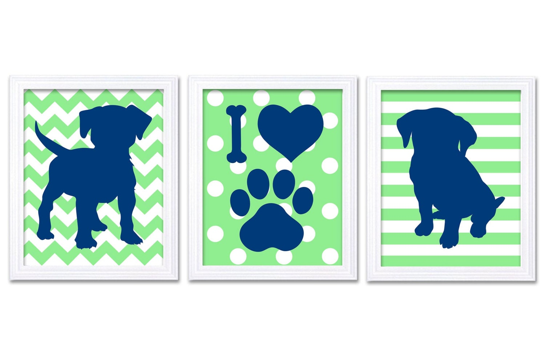 Puppy Dog Nursery Art Puppy Prints Set of 3 Prints Navy Blue Mint Green Stripes Polka Dots Chevron B