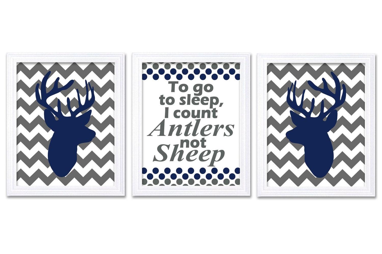 Navy Blue Grey Deer Nursery Art Deer Head Prints Set of 3 To Go To Sleep Count Antlers Chevron Baby