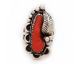 Vintage Native American Indian Ring Sterling Branch Coral, Navajo Sterling Ring, Navajo Coral Ring, Navajo Sterling Coral, Red Branch Coral