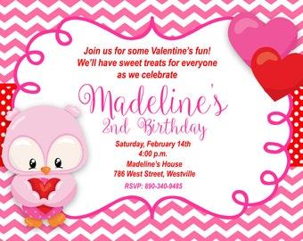 Owl Valentines Birthday Party Invitation - Printable or Printed
