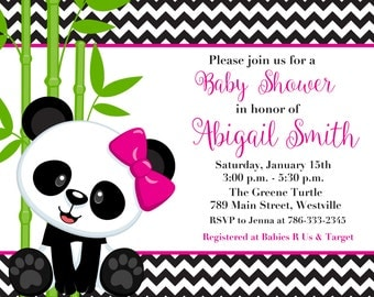 Panda Bear, Boy or Girl, Pink or Blue, Baby Shower Invitation - Birthday Party Invitation - Printable or Printed