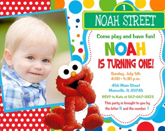 Elmo, Sesame Street, Baby, First Birthday, Party Invitation, One Year-  Printable or Printed
