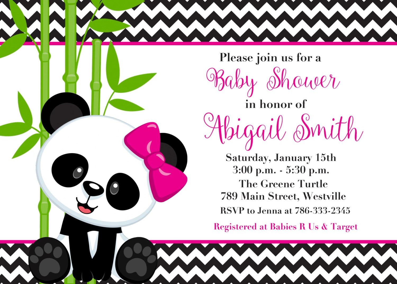 Panda Bear Boy or Girl Pink or Blue Baby Shower Invitation