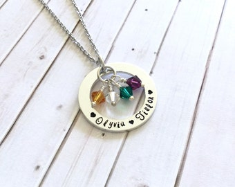 Mother Necklace - Grandmother Pendant - Gift for Her - Personalized - Family Necklace - Birthstone - Mother's Day Gift