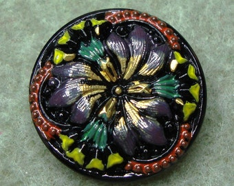 Czech Glass Button 23mm - hand painted - black, yellow, red, green, gold, blossom (B23223)