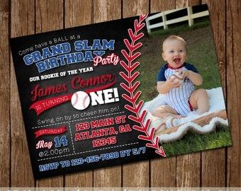 Baseball Birthday Invitation - Grand Slam Party - Boy's First Birthday - Vintage Baseball Invite - 4x6 or 5x7 - Digital Download - Printable