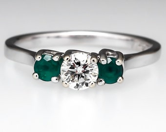 Petite Emerald & Diamond Three Stone 14k White Gold Engagement Ring CN9810