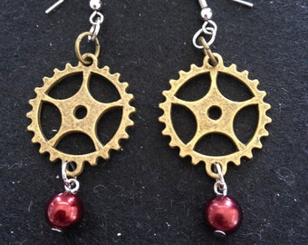 Gear Drop Earrings