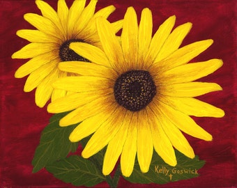 """A Giclee print of a Sunflower painting. This print is of my original acrylic painting """"Cheerful""""."""