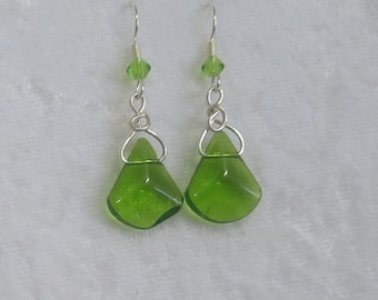 Green glass earrings- unique design