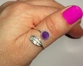 Sterling silver leaf amethyst ring, Amethyst and leaf adjustable ring, Stone ring, Leaf ring, Boho ring, Amethyst ring