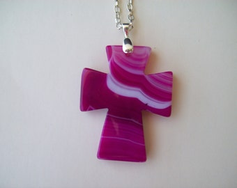 """Pink Agate Cross pendant with chain - 2"""" long"""