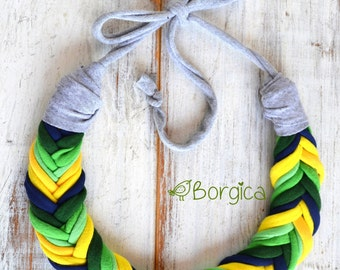 Green and Yellow Ombre Fishbone Necklace - Recycled jewellry - Eco Friendly - Babyfriendly - Colorful Gift - Tshirt Yarn Necklace
