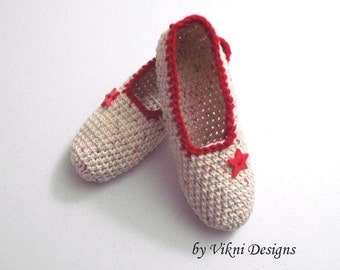 Cotton Slippers, Crochet Indoor Slippers, Women House Shoes by Vikni Designs